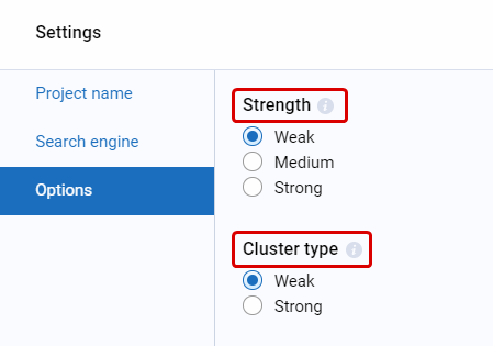 Which settings should be chosen in the Clustering tool? Strength/Cluster type?