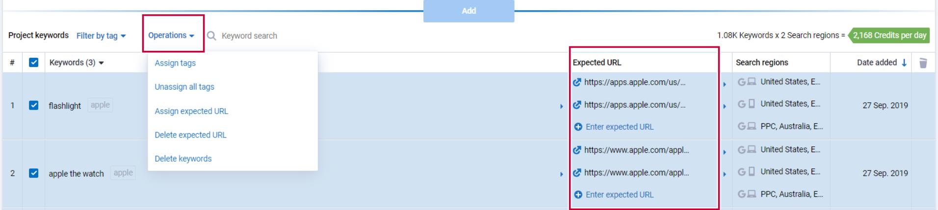 Can I add URLs to keywords by tag? 16261788764273
